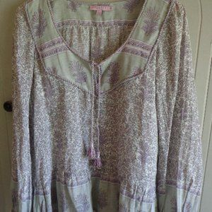 CALYPSO St. Barth Boho Tunic S Tie Scoop Neck Ragl